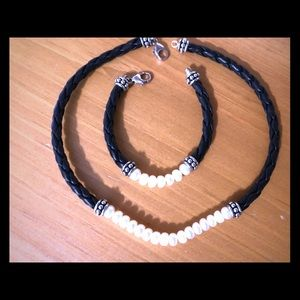 Honora Pearl & Leather Choker & Bracelet Set